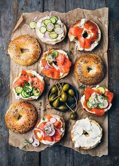 (Good) These are bagels! I am in awe of these bagels. The lox and cucumbers provide color and they perfectly balanced the toast of the bagel top, the cream cheese bagel, and the lox bagel. The earthy background makes these bagels look healthy and hearty.