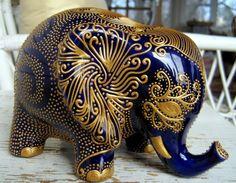 Lucky Elephant Bank  Gold Design on Royal by StephanieCeramics, $120.00