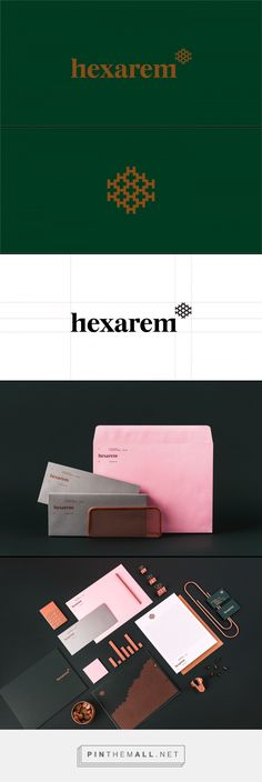 Hexarem - Branding on Behance. - a grouped images picture - Pin Them All Corporate Design, Brand Identity Design, Corporate Identity, Graphic Design Typography, Visual Identity, Branding Design, Logo Branding, Logos, Clever Logo