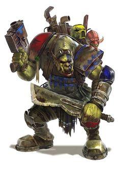 Chara design by diegogisbertllorens.deviantart… for warhammer campaigns Death Skulls Ork Warhammer 40k Art, Warhammer Models, Warhammer Fantasy, Character Concept, Character Art, Concept Art, Character Design, Orks 40k, Game Workshop