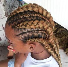 Honey Blonde Cornrows and ZigZag Parting Big Cornrows Hairstyles, Dope Hairstyles, Blonde Hairstyles, Cornrows Updo, New Natural Hairstyles, Natural Hair Styles, Beautiful Hairstyles, Mode Crochet, Honey Blonde Hair