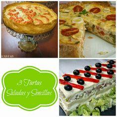La Taza de Loza: 3 Tartas Saladas y Sencillas Salty Foods, Spanish Food, Spanish Recipes, Empanadas, Tapas, Buffet, Cooking Recipes, Menu, Yummy Food