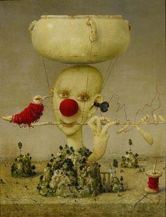 Fool on the hill by Janda Zdenek Surreal Artwork, Famous Artwork, Joker Clown, Pick Art, Famous Artists, Love Art, The Fool, Altered Art, Free Images
