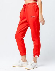 Shop Adidas women's clothing, shoes & more at Tillys. Find the best styles for men, women & kids today. With so much to choose from, you'll find the perfect Adidas women's clothing & accessories. Red Sweatpants, Red Joggers, Adidas Joggers, Joggers Outfit, Joggers Womens, Jogger Pants, Teen Fashion Outfits, Women's Fashion, Tumblr Outfits
