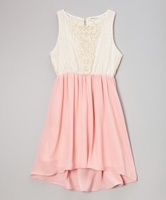 Ivory & Pink Lace Dress - Tween Trend
