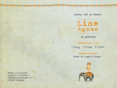 Geboortekaartje Lise - dubbel kaartje - binnenkant - Pimpelpluis - https://www.facebook.com/pages/Pimpelpluis/188675421305550?ref=hl (# retro - layout - tekst - tekstontwerp - olifant - dieren - meisje - circus - vlaggetjes - origineel)