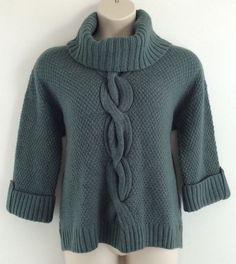 NWT 1x Petite TALBOTS Green Chunky Wool Alpaca Cable Knit Turtleneck Sweater 1xP #Talbots #TurtleneckMock