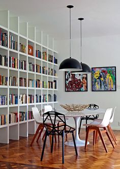 Pendent lighting & large bookcase in dining room Room, Interior, Small Space Interior Design, Home, Bookshelf Design, House Interior, Interior Design, Living Decor, Interior Design Bedroom