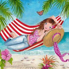 Hammock on the Beach Art / Cartita Design