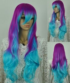 Isis // Purple and Sky Blue Ombre Synthetic Wig by ginabarto, $59.00