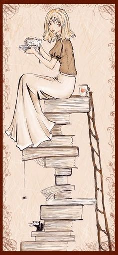 Books. Coffee. Cat. Enough said.