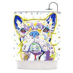 "Rebecca Fischer ""Niko"" French Bulldog Shower Curtain, 69 by Cute dog decoration Cool Shower Curtains, Shower Curtain Sets, Contemporary Shower, Little Neck, Wooden Terrace, Shower Liner, Mid Century Modern Decor, Bath Linens, Unique Art"
