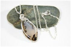Wire Wrapped Jewelry / Agate Jewelry / Wire Wrapped Moss Agate / All Sterling Silver Pendant Necklace on Etsy, $85.00
