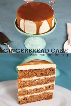 A super moist gingerbread layer cake with caramel buttercream and a rich caramel sauce cascading down the top and hidden inside. Hello christmas in a cake! Holiday Baking, Christmas Desserts, Christmas Baking, Christmas Goodies, Christmas Cakes, Christmas Treats, Christmas Recipes, Sweet Recipes, Cake Recipes