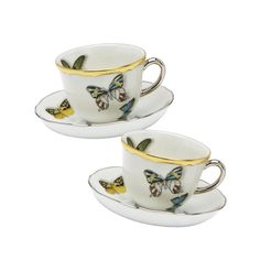 Christian Lacroix for Vista Alegre Butterfly Parade Coffee Cup and Saucer, Box Set of 2 - Gracious Home