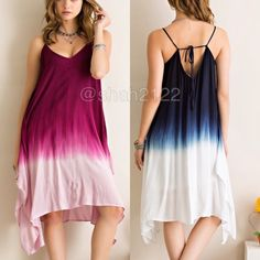 "New Ombré tie dye shark bite hi low hem boho dress New with tags.  Blue or berry available in small,medium or large. woven, v-neckline, adjustable straps ✏️The back is a tie up style and you can adjust and tie it how you want it. Ombre tie dye dip style. Flare Boho summer sun dress, very flattering. shark bite hem. hi lo, high low hem. Material is not sheer or see through ✏️Dress is lined with stretchy fabric. fabric is 100%Rayon. Armpit to armpit=(L) is 21""/23"" Length(high to low point(L)…"