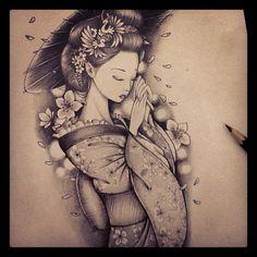 Sketch finalizado! #geisha #sketch #tattoo #chrisyamamoto
