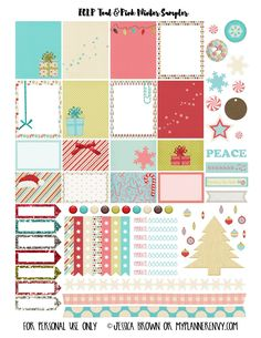 Free Teal & Pink Winter Sampler for the Erin Condren Life Planner {also available for The Happy Planner}