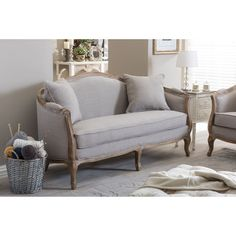 Baxton Studio Corneille French Country Weathered Oak Beige Linen Upholstered 2-Seater Sofa (Loveseat-Beige)