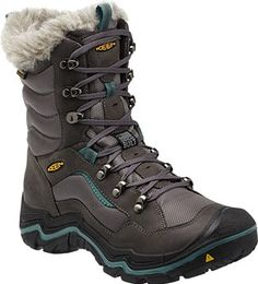 The 400 gram KEEN.WARM insulation, woolly Thermal Heat Shield footbed and faux fur collar keep things toasty. Snowy icy slush puddles? This boot's KEEN.DRY membrane is waterproof and breathable, and the dual compound snow and ice grip rubber sole keeps you on your feet. | Durand Polar WP for Women | KEEN Footwear