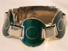 VINTAGE MODERNIST RETRO ENAMEL CHROME BUCKLE BRACELET #PANEL