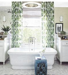 Lynn Chalk - Bathroom Drapes in Peter Dunham Fig Leaf (Architectural Digest September 2013), Please fill out Quote Form for Drapes for pricing or email me lynn@lynnchalk.com if you would like a similar custom product. (http://store.lynnchalk.com/bathroom-drapes-in-peter-dunham-fig-leaf-architectural-digest-september-2013/)