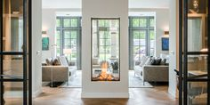 see-through fireplace vertical fireplace designer fireplace modern fireplace modern design-Sky be propane Double Sided Gas Fireplace, Direct Vent Gas Fireplace, Vented Gas Fireplace, Home Fireplace, Modern Fireplace, Living Room With Fireplace, Fireplace Design, Fireplace Ideas, Contemporary Fireplaces