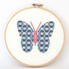 Cross stitch pattern PDF Patterned butterfly door RedGateStitchery