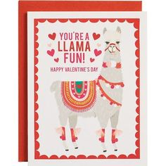 Our popular Llama design will be a huge hit with your lucky Valentines! Write your own message - blank inside.<br><br>10 - 4 1/4 x 5 1/2 A2 folded cards<br>10 - 4 3/8 x 5 3/4 A2 persimmon envelope