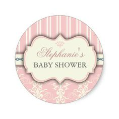 Chic Damask And Stripe Baby Shower Favor Sticker