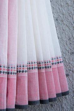 White Saree with Pink Border