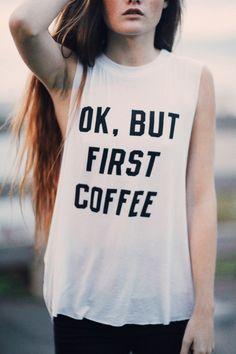 Brandy ♥ Melville | Denija But First Coffee Tank - Graphics