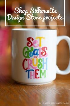"""This project includes """"Set goals and crush them"""" design by Dawn Nicole Designs. This design makes a wonderful vinyl decal that you can put just about anywhere to keep motivating yourself. Silhouette Projects, Silhouette Design, Design Projects, Craft Projects, Dawn Nicole, Cameo Project, Border Design, Setting Goals, Motivate Yourself"""
