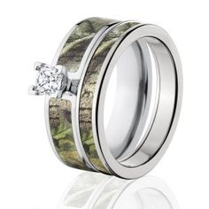 RealTree Green Camo Bridal Set, Womens Camouflage Wedding Rings