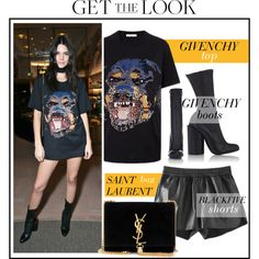 Celebrity Look -Kendall Jenner by monmondefou on Polyvore featuring Givenchy, Yves Saint Laurent, black, celebrity, CelebrityLook, kendalljenner and CelebrityStyle