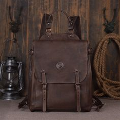 """Leather Backpack Laptop Backpack Laptop Bags 9036 Model Number: 9036 Dimensions:15.3""""L x 5.5""""W x 13""""H / 39cm(L) x 14cm(W) x 33cm(H) Weight: 3.5lb / 1.6kg Hardw"""