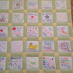 Baby shower idea. Have your guest design a quilt square using fabric markers and then make it into a keepsake quilt.
