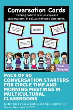Circle Time Conversation Cards for Multicultural Classrooms Social Studies Resources, Teaching Resources, Multicultural Classroom, Icebreaker Activities, Conversation Cards, Listening Skills, Circle Time, Social Skills, Life Skills
