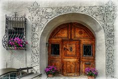 Typical front door entrance of grisonian architecture, Here in Guarda, lower Engadin, Switzerland