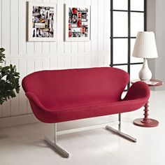 Modway Wing Loveseat in Red