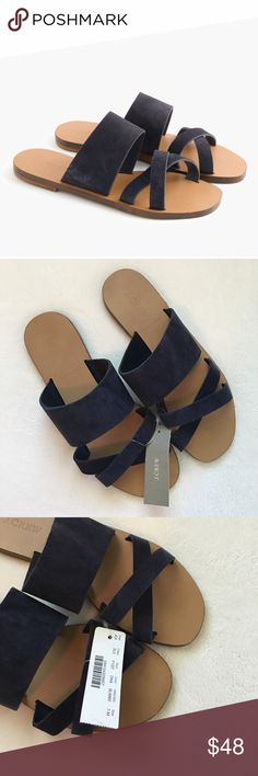 {J. Crew} Bali Suede Slide Sandals NWT! J. Crew Bali suede slides. The next best thing to being barefoot? These comfortable suede slides, made in Italy. Blue suede upper. J. Crew Shoes Sandals