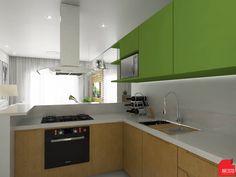 Projeto de interiores apartamento de 52m². A proposta para esse ambiente que integra a cozinha, sala de estar e jantar, foi fazer um ambiente clean com os tons claros, confortável com a madeira e um toque de ousadia no verde Greenery do armário da cozinha!! Mais projetos no Instagram.