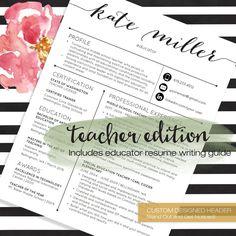 teacher resume template cover letter professional modern creative resume template ms word for mac pc us letter a4 4 pk cv cv pinterest - Teacher Resumes Templates