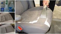 The Perfect DIY To Clean Car Upholstery - - If you do any driving with kids, then you know how disastrous they can be for your car's upholstery. If you have any in car seats still, that disaster can b. Steam Clean Car Seats, Clean Cloth Car Seats, Car Upholstery Cleaner Diy, Car Seat Upholstery, Upholstery Cleaning, Cleaning Car Windows, Car Cleaning, Cleaning Hacks, Cleaning Products