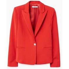 Peak Lapel Suit Blazer (280 PLN) ❤ liked on Polyvore featuring outerwear, jackets, blazers, shoulder pad blazer, shoulder pad jacket, fleece-lined jackets, mango jackets and red blazer