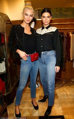 Model behavior: Karlie and Kendall wore nearly matching ensembles for the luxury vintage r...