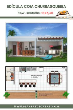 This little house with barbecue is a complete and cozy environment for you to spend pleasant moments Dream Home Design, Home Design Plans, Modern Outdoor Kitchen, Outdoor Living, Barbecue Garden, Pool House Plans, House Front Design, Swimming Pools Backyard, Pool Houses