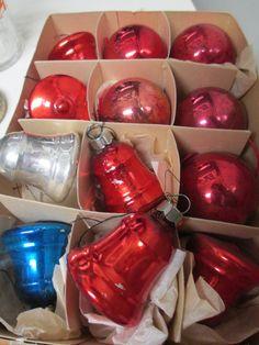 Vintage Mercury Glass Red Bells & Balls 12 by nimasonry on Etsy