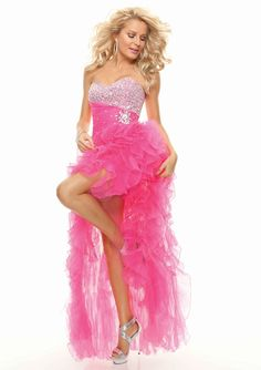 >> Click to Buy << Sweetheart Neckline Ruffles Crystals Beaded High Low Prom Party Dresses Hot Pink Short Front Long Back FN182 #Affiliate