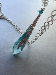 Swarovski Blue Prism Crystal Necklace Swarovski special necklace Victorian necklace